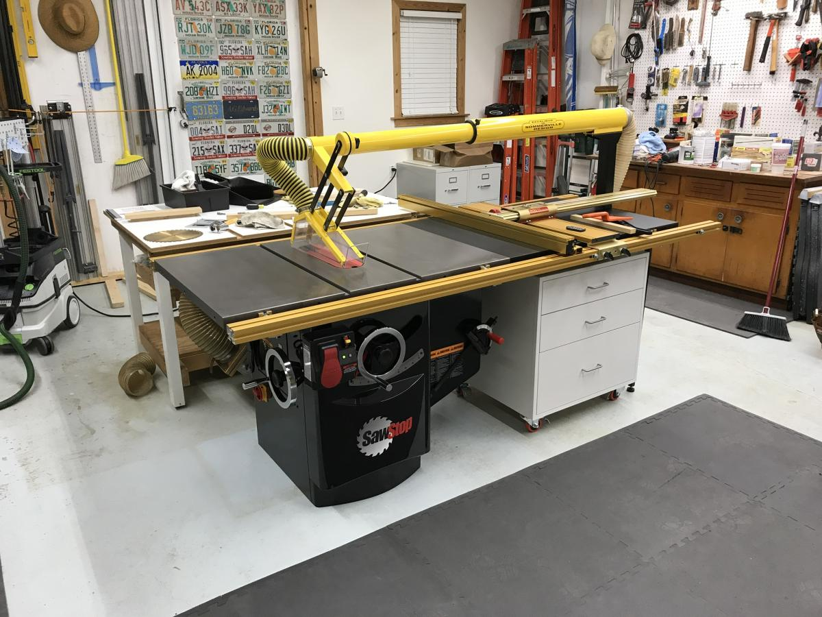SawStop Industrial Cabinet Saw with 3hp motor, Incra fence and old Excalibur blade guard.