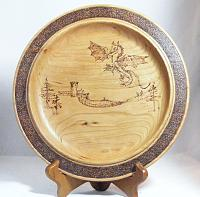 DragonPlate - cherry with woodburned embellishment
